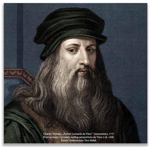 """Charley Townley, """"Portret Leonardo da Vinci"""" (mezzotinta), 1777. Przerysowany i rytowany według autoportretu da Vinci z ok. 1500 . Retusz i kolorowanie: Ewa Małek"""