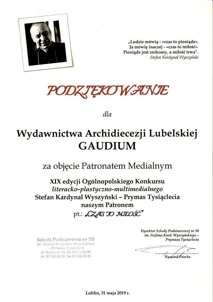 Podziękowania Wydawnictwo Archidiecezji Lubelskiej Gaudium